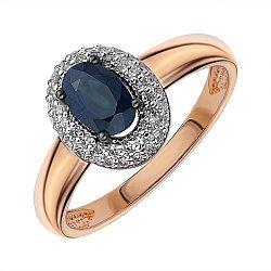 Кольцо из красного золота с сапфиром и бриллиантами 000145555
