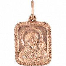 Золотая ладанка Богородица Казанская в красном цвете металла
