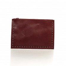 Кожаный клатч Genuine Leather 1405 бордового цвета с короткой ручкой на запястье и плечевым ремнем