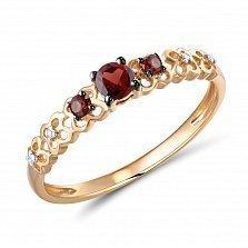 Кольцо из красного золота Урсула с бриллиантами и гранатами