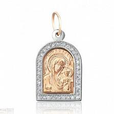 Ладанка из серебра с цирконием и позолотой Мария с младенцем