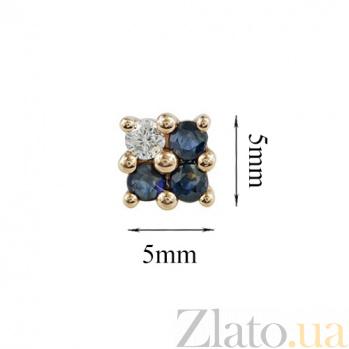 Золотые серьги-пуссеты с сапфирами и бриллиантом Лабиринт 000026680