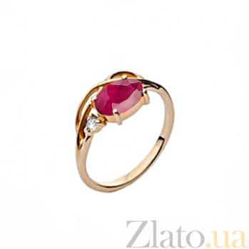 Золотое кольцо Тэрезе с розово-красным турмалином и бриллиантом 000030400