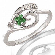 Кольцо Керри из белого золота с бриллиантами и изумрудом