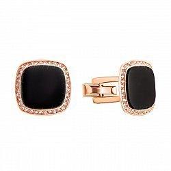 Запонки из красного золота с черным ониксом и фианитами 000133366