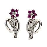 Серебряные серьги с бриллиантами и рубинами Сильва