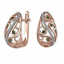 Серьги из красного золота Наталья с бриллиантами и топазами