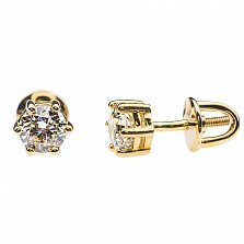 Золотые серьги-пуссеты с бриллиантами Маделин