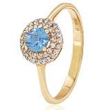 Золотое кольцо с топазом и фианитами Шарлин