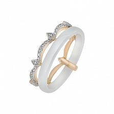 Кольцо в желтом золоте Леди с керамикой и бриллиантами