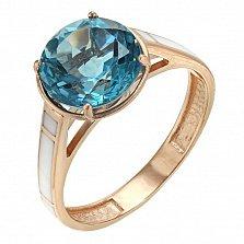 Кольцо в красном золоте Тиана с голубым кварцем и эмалью