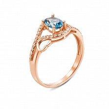 Кольцо из красного золота с топазом и фианитами 000133917