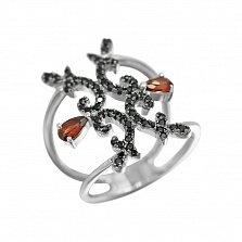 Серебряное кольцо Орнэлла с гранатом и черными фианитами