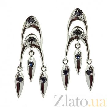 Серебряные серьги с бриллиантами и сапфирами София ZMX--EDS-6184-Ag_K