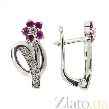 Серебряные серьги с бриллиантами и рубинами Сильва ZMX--EDR-6489-Ag_K