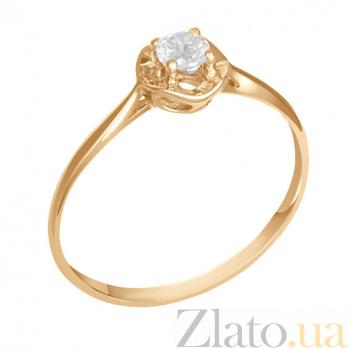 Кольцо в красном золоте Лиана с фианитом 000023167