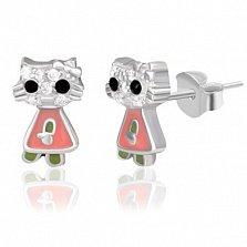 Серьги из серебра с фианитами Кошечка