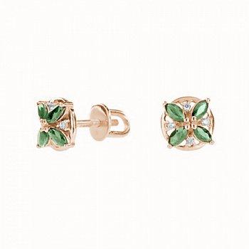 Золоті сережки-пусети зі смарагдами та діамантами 000021958