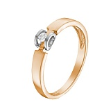 Кольцо в красном золоте с белым кастом Ожидание чуда с бриллиантом