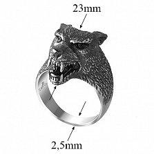 Серебряное черненное кольцо Бесстрашный волк