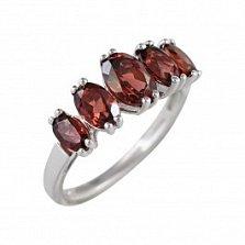 Серебряное кольцо Дора с гранатом