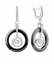 Серебряные серьги-подвески Бетани с черной керамикой и фианитами