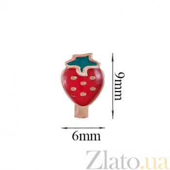 Детские золотые серьги с эмалью Клубника 000023592