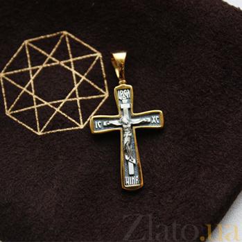 Серебряный крестик в позолоте с чернением Возрождение 000032536