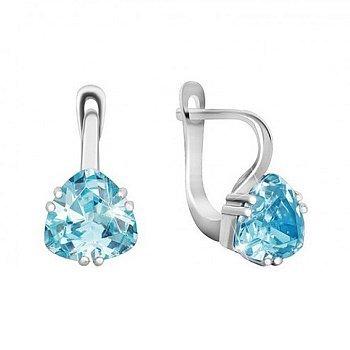 Серьги из серебра с голубыми фианитами 000024596