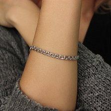 Серебряный родированный браслет Бисмарк, 5мм