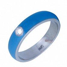 Золотое кольцо Пастель с фианитом и эмалью цвета синее небо