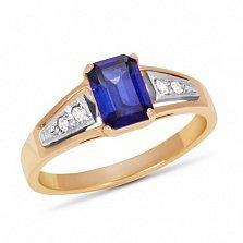 Золотое кольцо Тереза с синтезированным сапфиром и фианитами