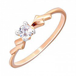 Серебряное кольцо Айша с фианитом и позолотой