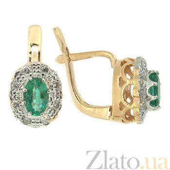Серьги из красного золота с изумрудами и бриллиантами Габриэлла ZMX--EE-5503_K