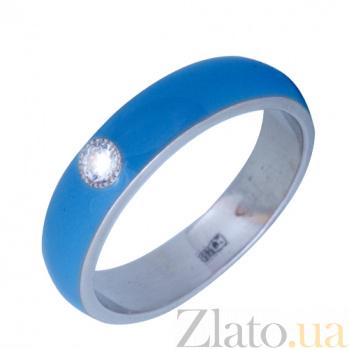 Золотое кольцо Пастель с фианитом и эмалью цвета синее небо К220бел/син