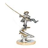 Серебряная статуэтка с позолотой Большой улов