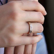 Обручальное кольцо в красном золоте Гортензия с фианитами
