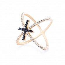 Золотое кольцо Орбита с белыми и черными фианитами