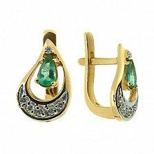 Золотые серьги с бриллиантами и изумрудами Регина