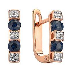 Серьги из красного золота с сапфирами и бриллиантами 000145447