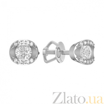 Золотые серьги с бриллиантами Леда KBL--С2604/бел/брил