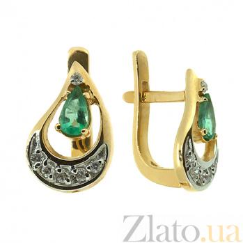 Золотые серьги с бриллиантами и изумрудами Регина ZMX--EE-6682y_K