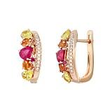 Золотые серьги с рубинами, сапфирами и бриллиантами Весна