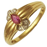 Кольцо из красного золота Диана с рубином и бриллиантами