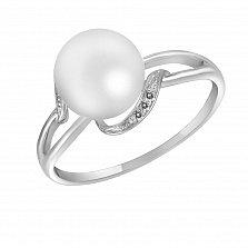 Кольцо Руслана из белого золота с бриллиантами и жемчугом