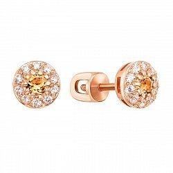 Серьги-пуссеты из красного золота с цитринами и фианитами 000131048