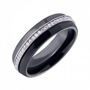 Кольцо из черной керамики и серебра с фианитами 000025489