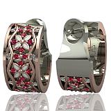 Серьги Сказочная поляна с бриллиантами, сапфирами и эмалью