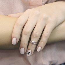 Золотое кольцо Орбита в белом цвете с белым цирконием