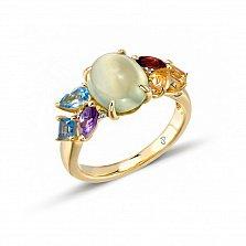 Кольцо в желтом золоте Рената с пренитом, голубым топазом, аметистом и бриллиантами